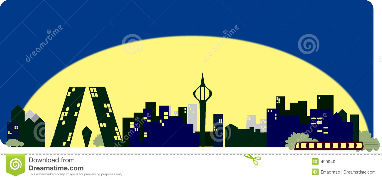Madrid Skyline Cartoon Stock Illustration Image Of Silhouette 490040
