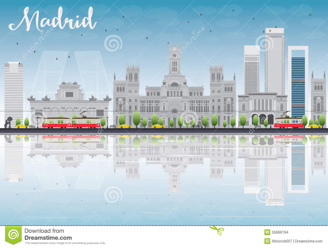 Madrid Skyline with grey buildings, blue sky and reflections.