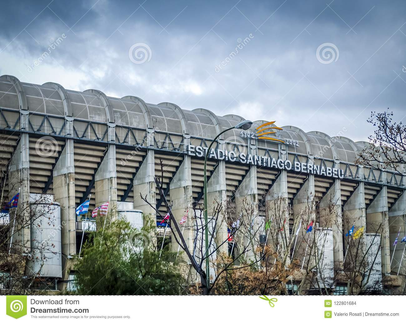 Exterior of the Santiago Bernabeu stadium in Madrid, the home of Real Madrid soccer team