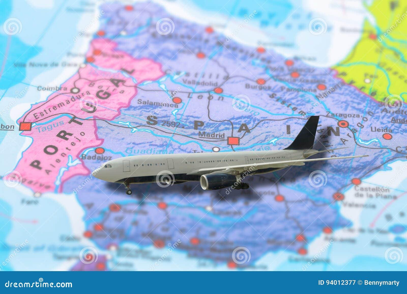 Madrid Spain flight stock image. Image of europe, aviation - 94012377