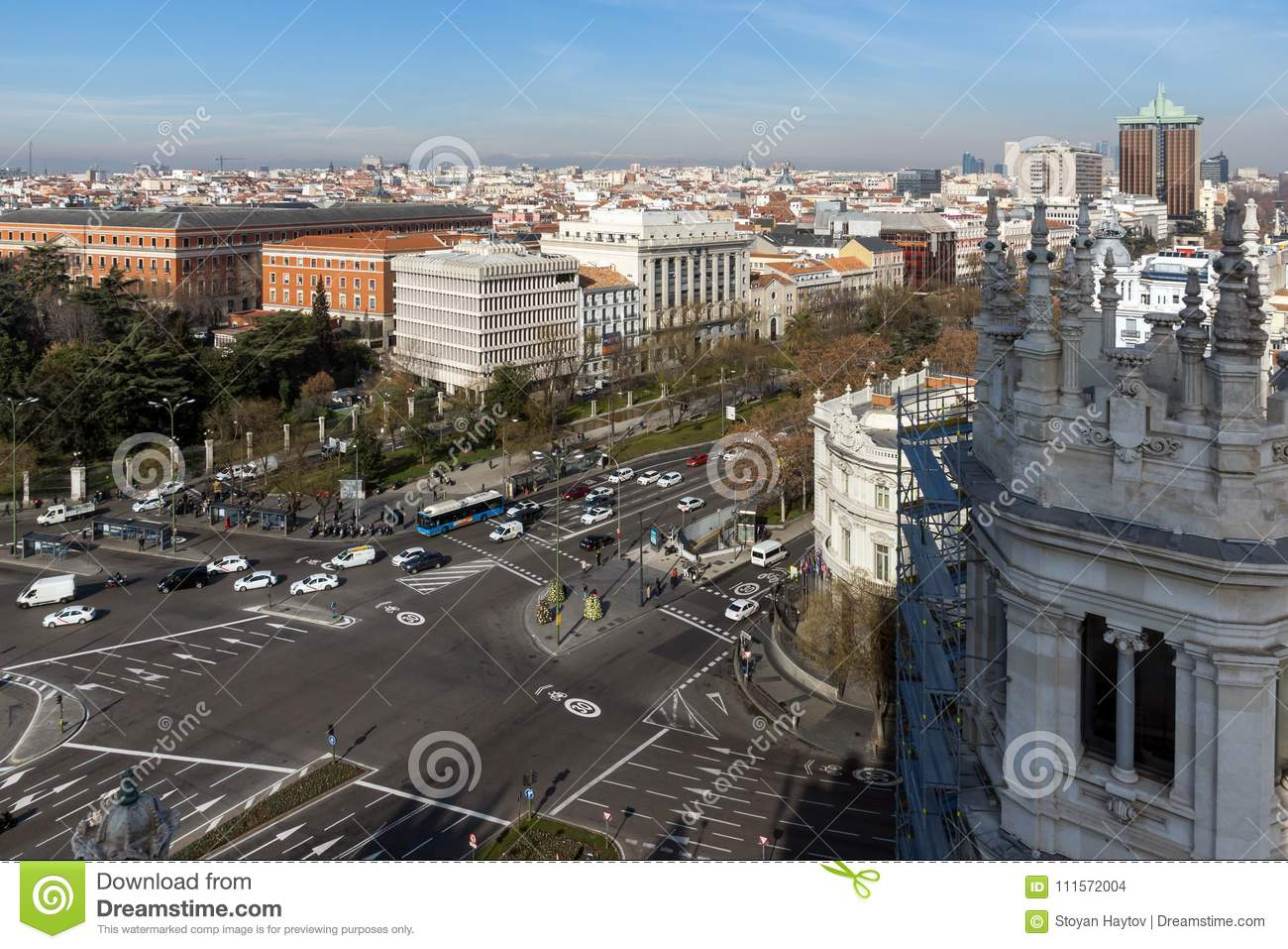 Panoramic View Of City Of Madrid From Cybele Palace Palacio