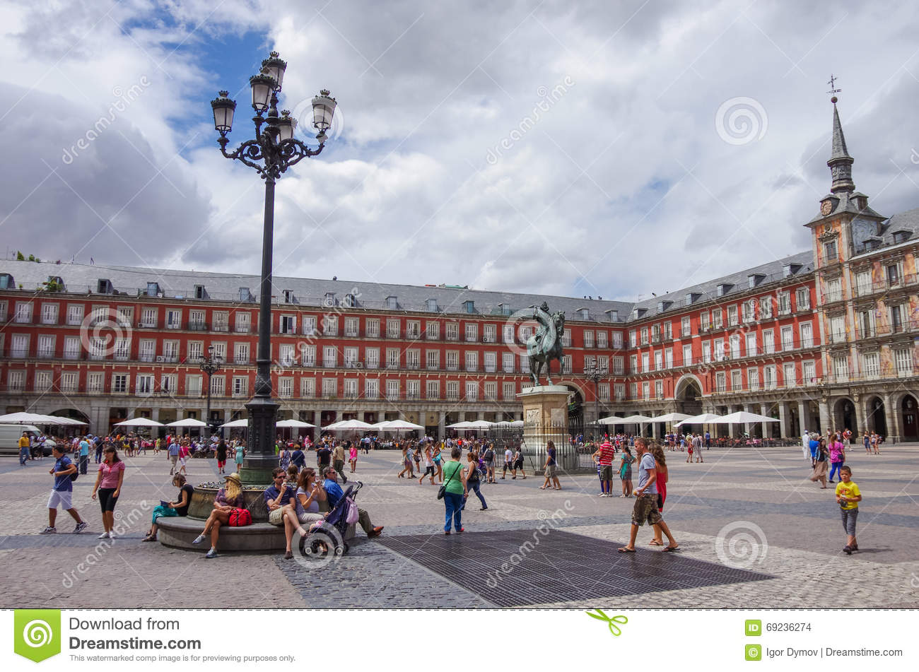 MADRID, SPAIN - JULY 4: Statue of Philip III at Mayor plaza in M
