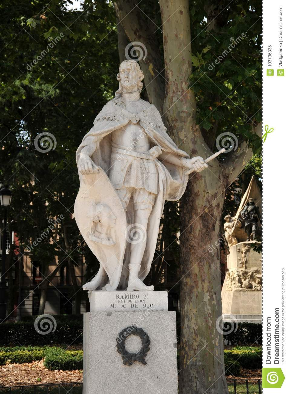 Statue of Ramiro II, King of Leon. on the eastern square of Plaza de Oriente in Madrid.