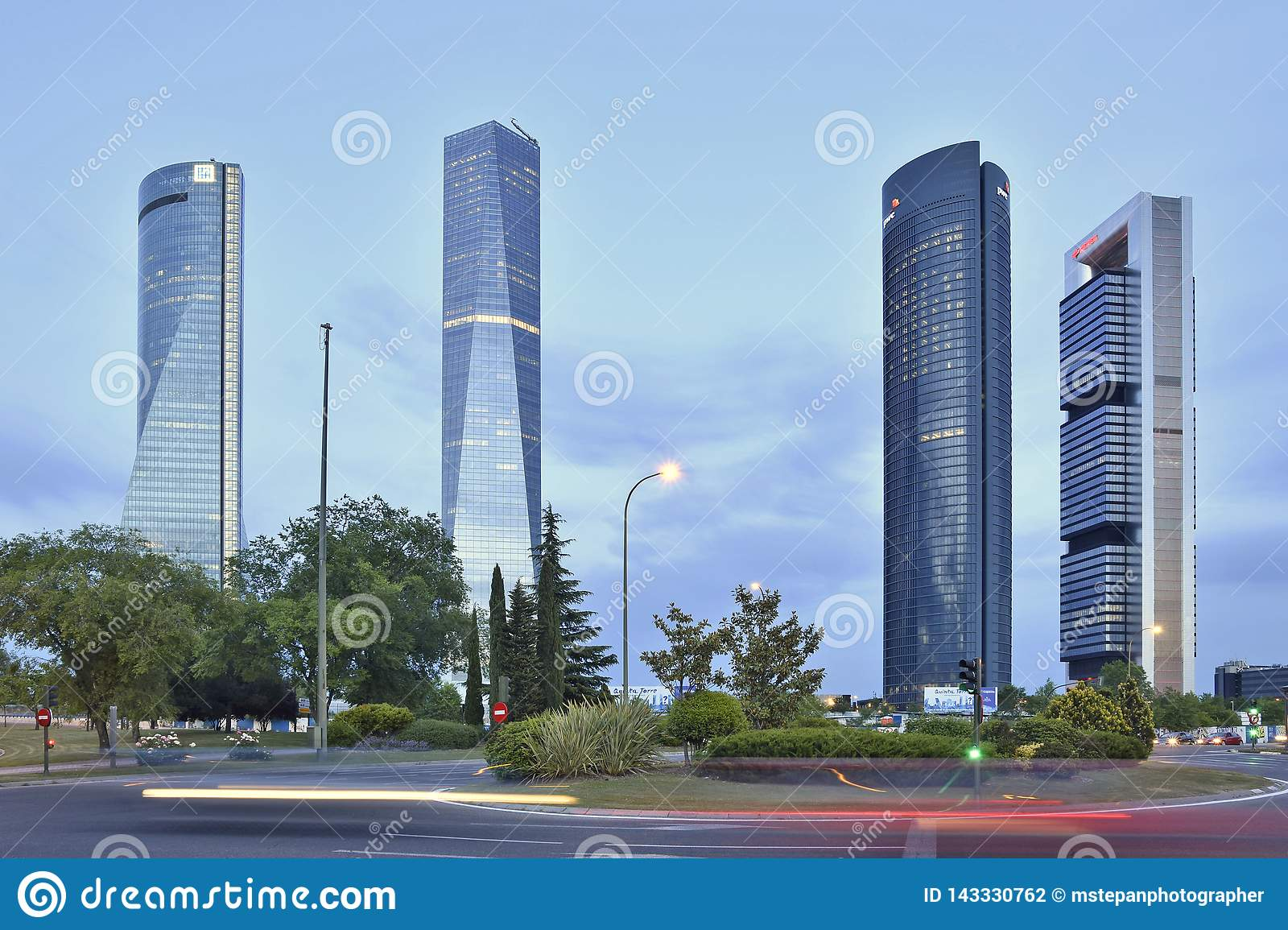 Four Towers modern office skyscrapers in Madrid Spain