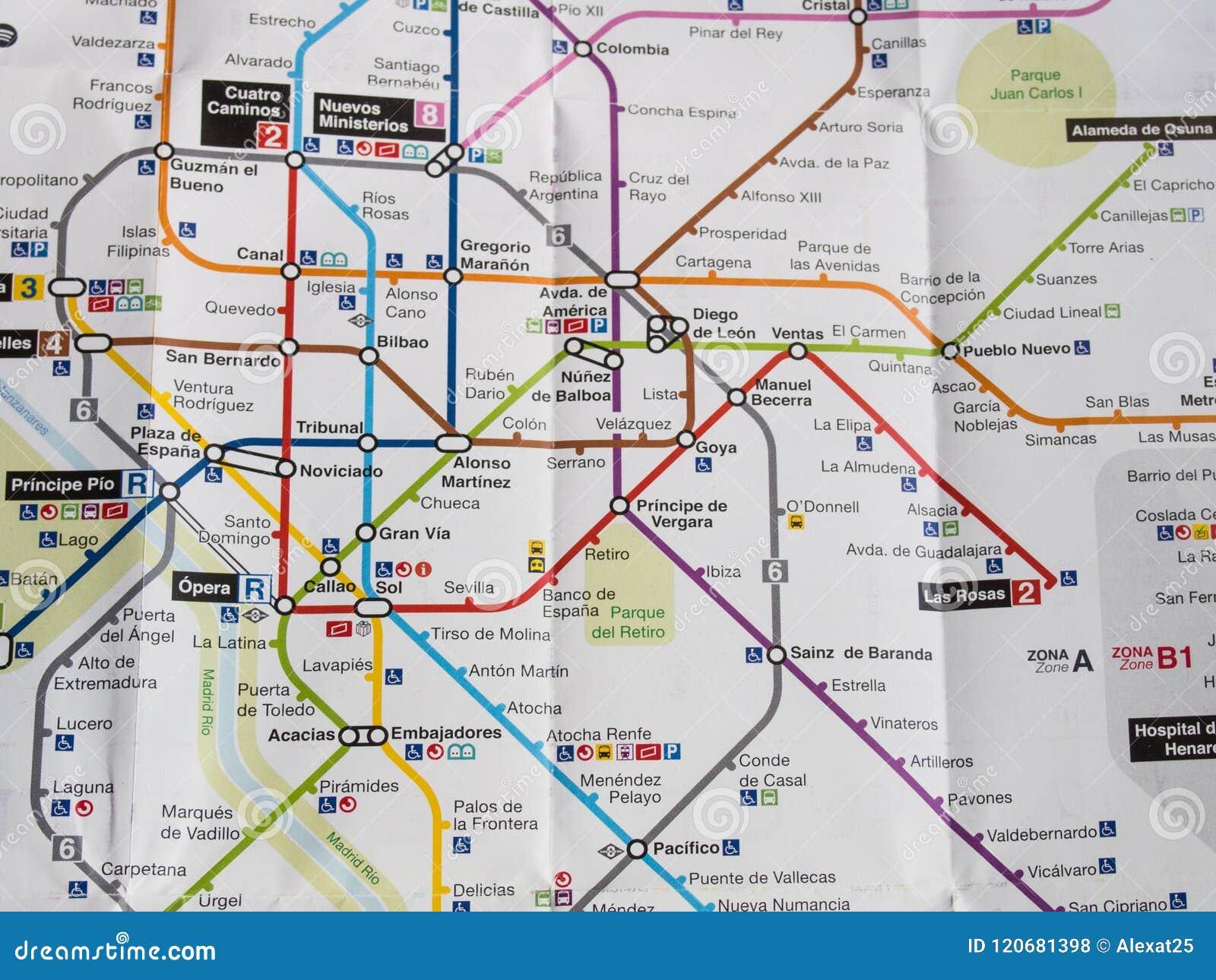Madrid - Spain, 2018 Map Of Underground Of Madrid Editorial Stock ...