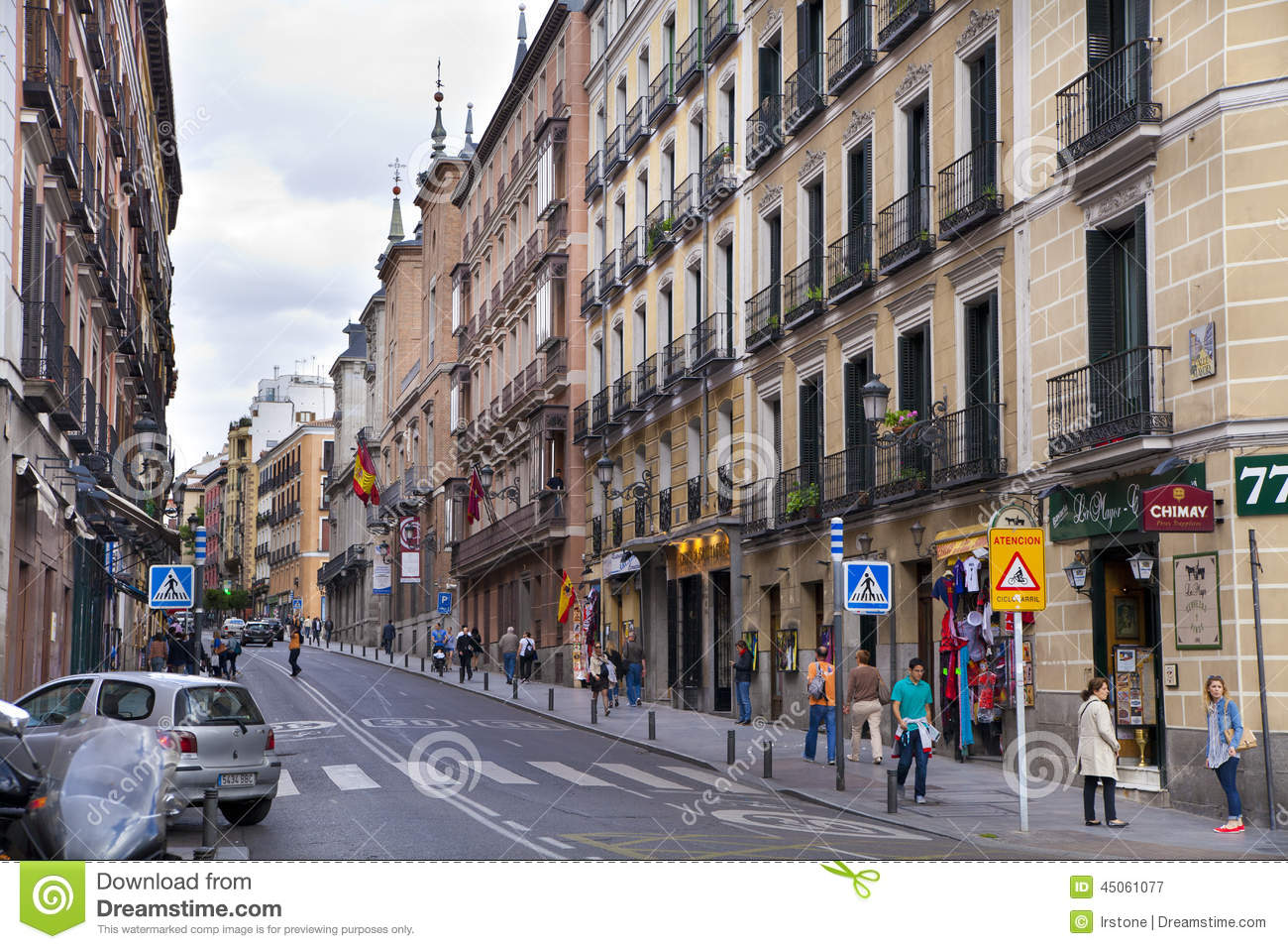 madrid spain may 28 2014 calle mayor old madrid city centre busy street with people and. Black Bedroom Furniture Sets. Home Design Ideas