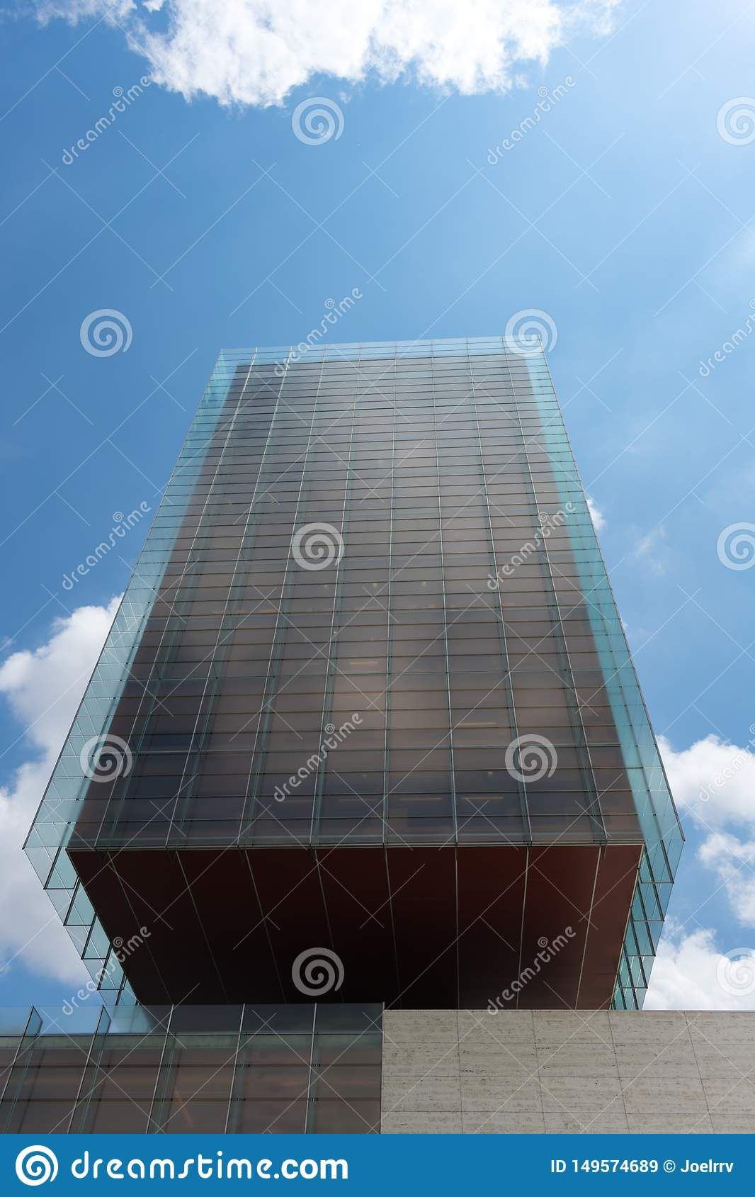 Madrid, Spain - May 21 2018: Front view of glass skyscraper in Madrid