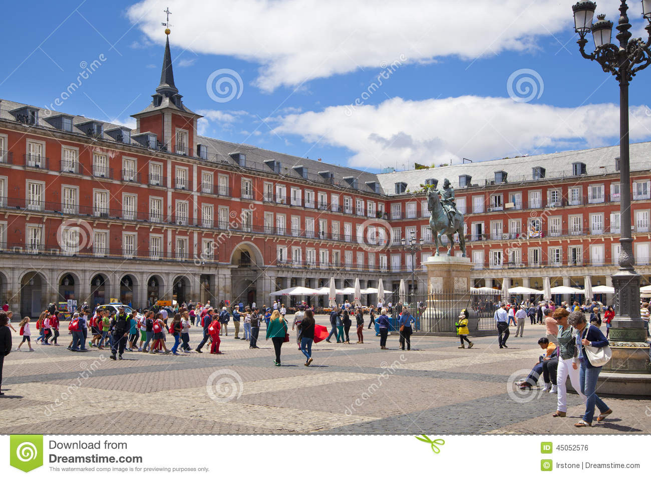 MADRID, SPAIN - MAY 28, 2014: Plaza Mayor and Statue of Philip III in front of his house