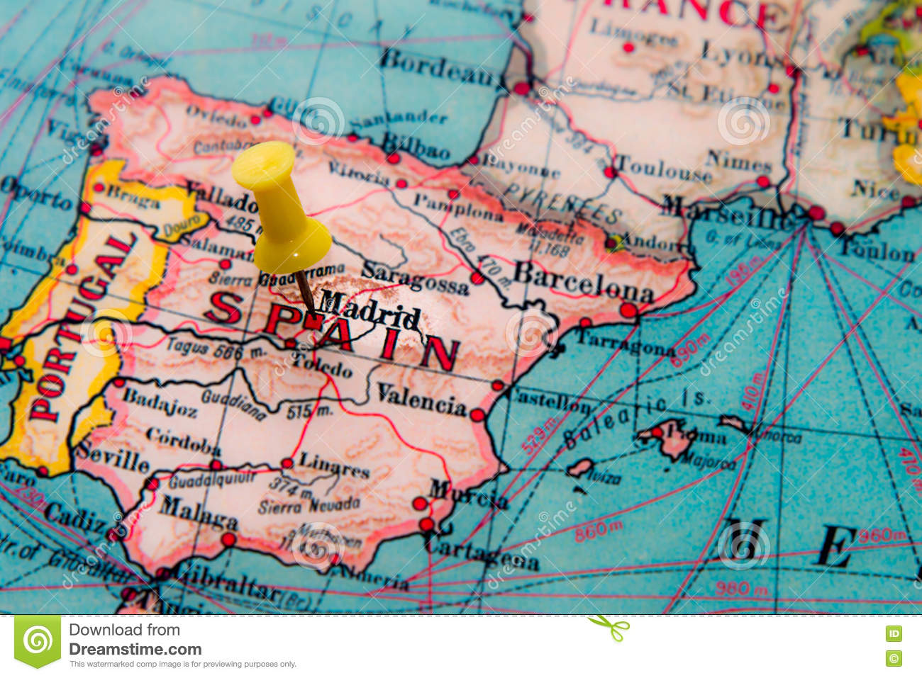Spain Map Of Europe.Madrid Spain Pinned On Vintage Map Of Europe Stock Image Image