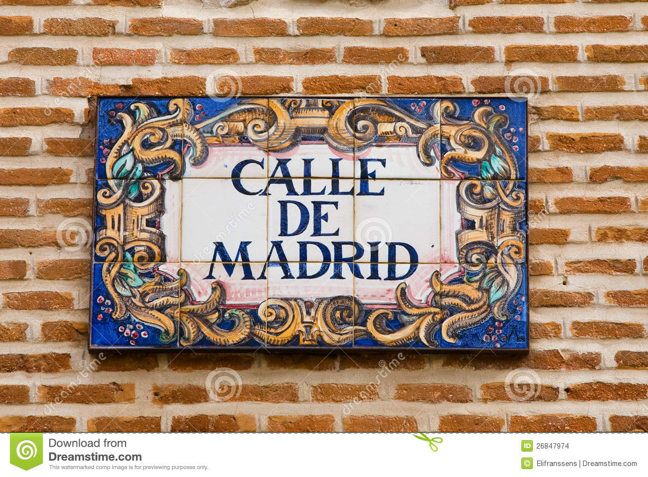Madrid Street Sign Stock Photo Image Of Characteristic