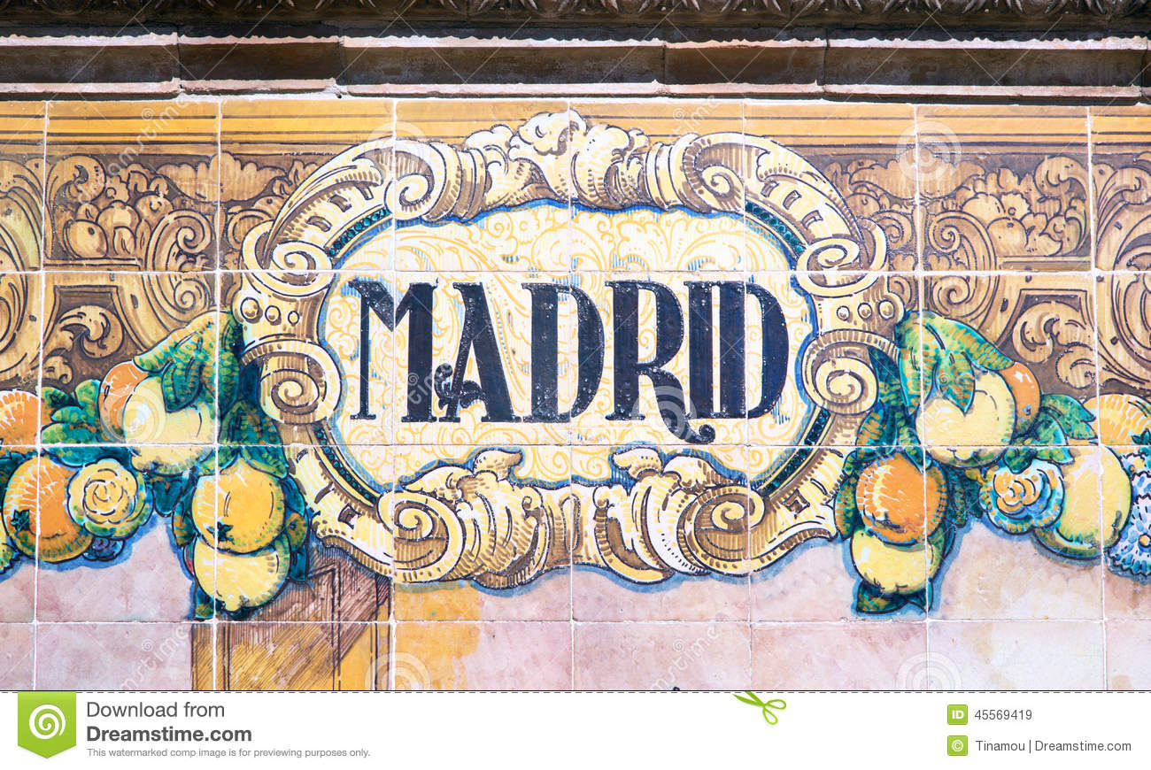 madrid written on azulejos stock photo image 45569419