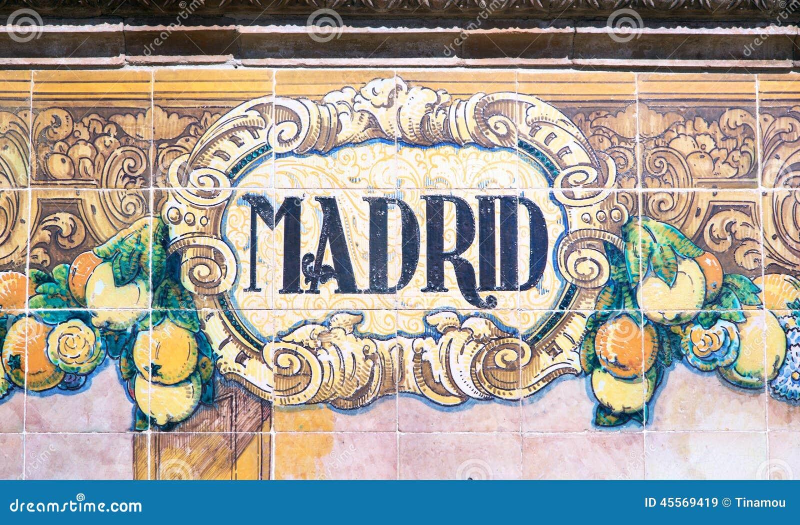 madrid written on azulejos stock photo image 45569419