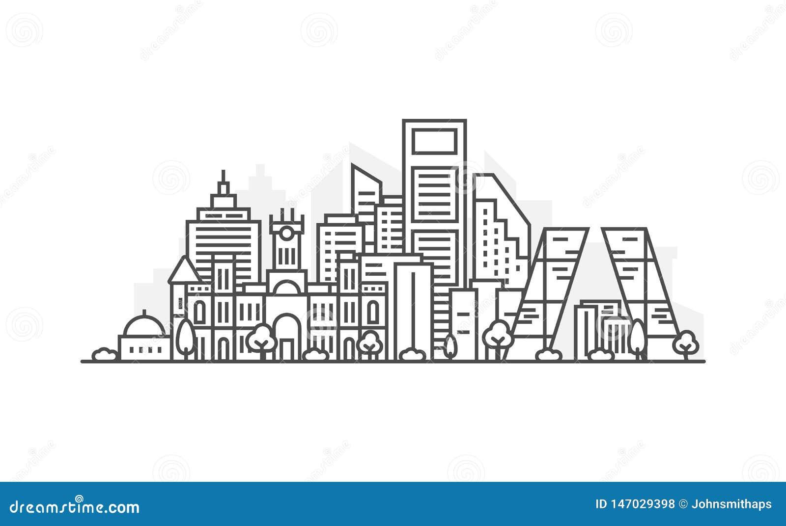 Madryt, Hiszpania architektury linii linia horyzontu ilustracja Liniowy wektorowy pejza? miejski z s?awnymi punktami zwrotnymi, m