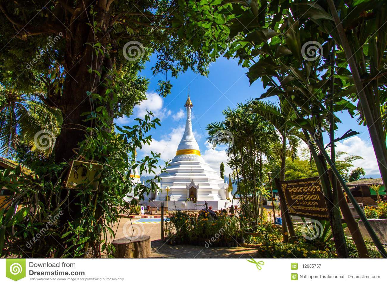 Mae Hong Son province,Northern Thailand on November 19,2017: Burmese style white chedis with beautiful sky at Wat Phra That Doi Ko