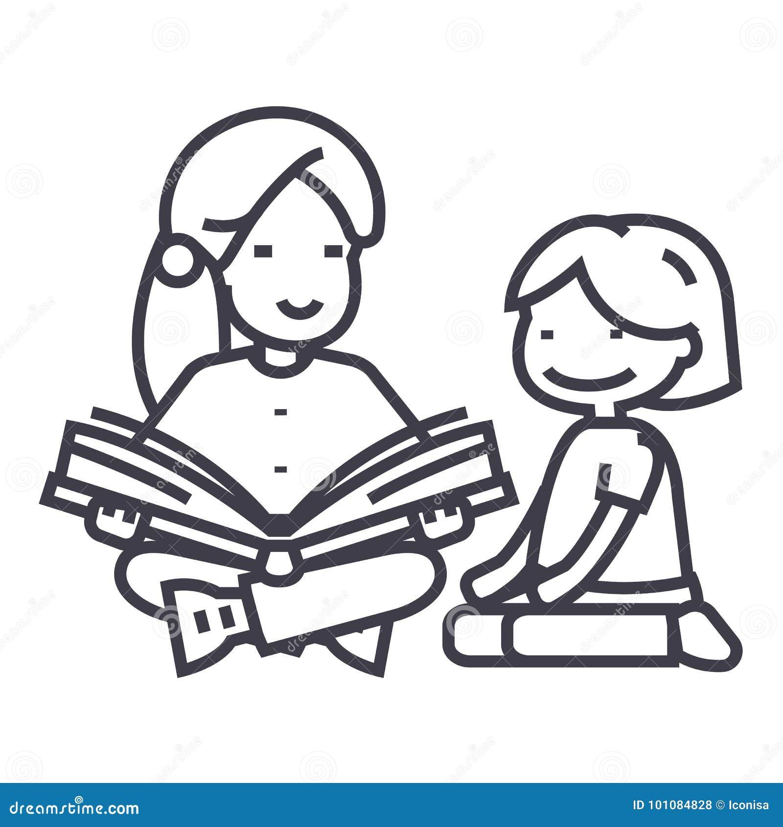 Maestro de jardín de infancia, libro de lectura de la mujer a la línea icono, muestra, ejemplo del vector de la muchacha en el fo