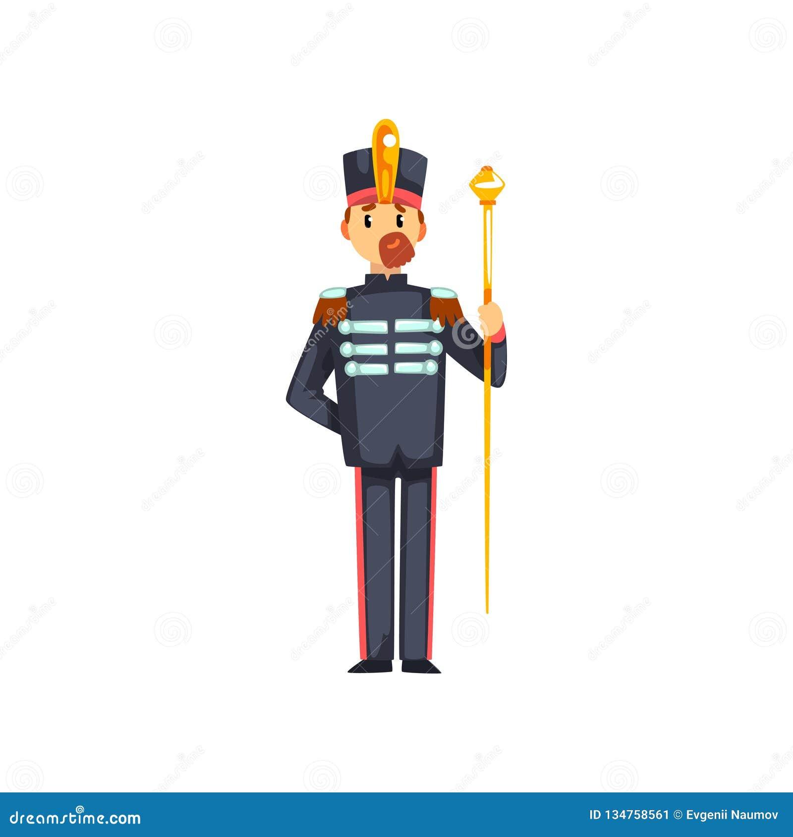 Maestro musical com vestíbulo, membro do soldado da ilustração do vetor da faixa militar do exército em um fundo branco
