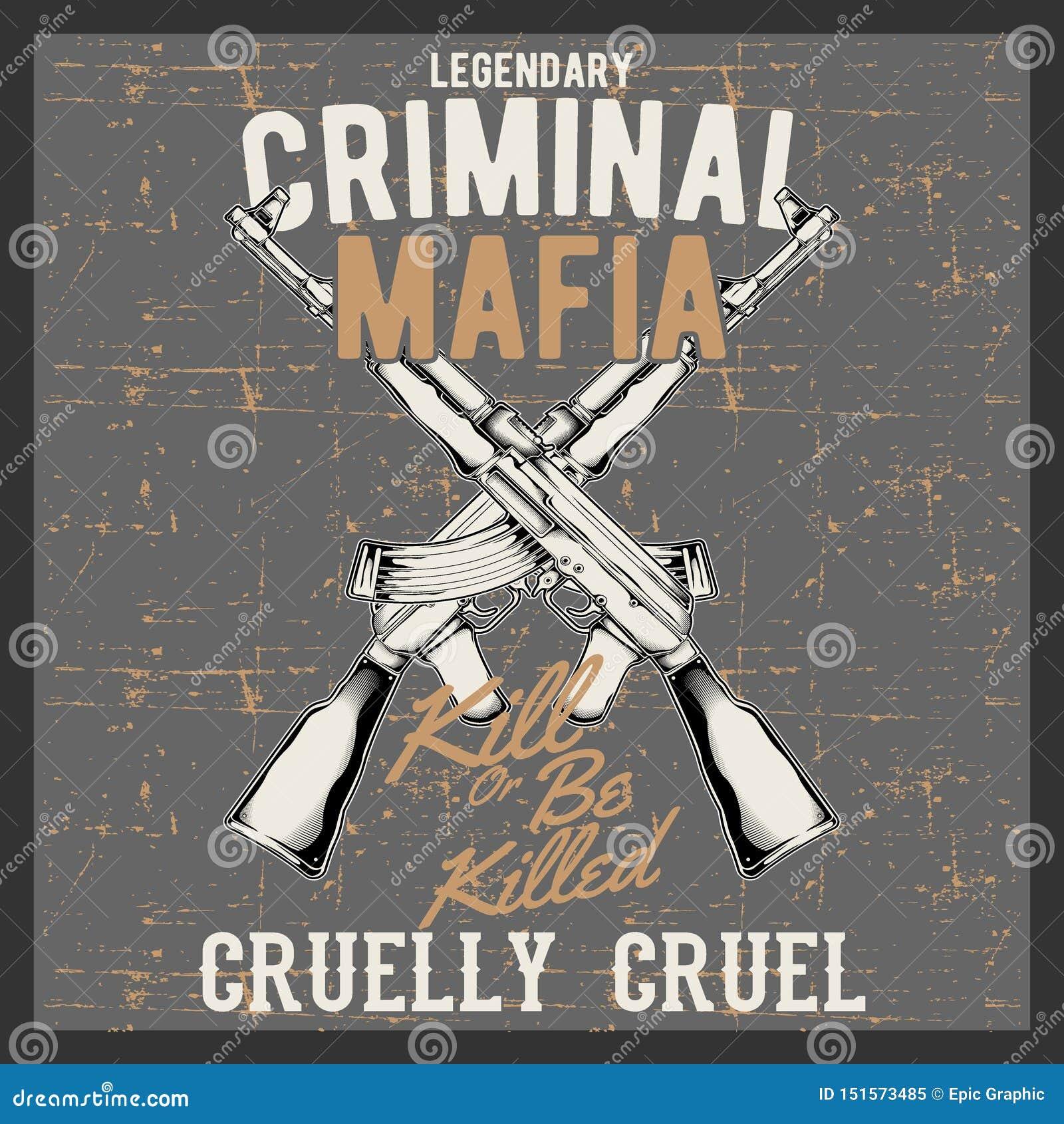 Mafia criminal del logotipo del vintage del estilo del Grunge con los armas automáticos,