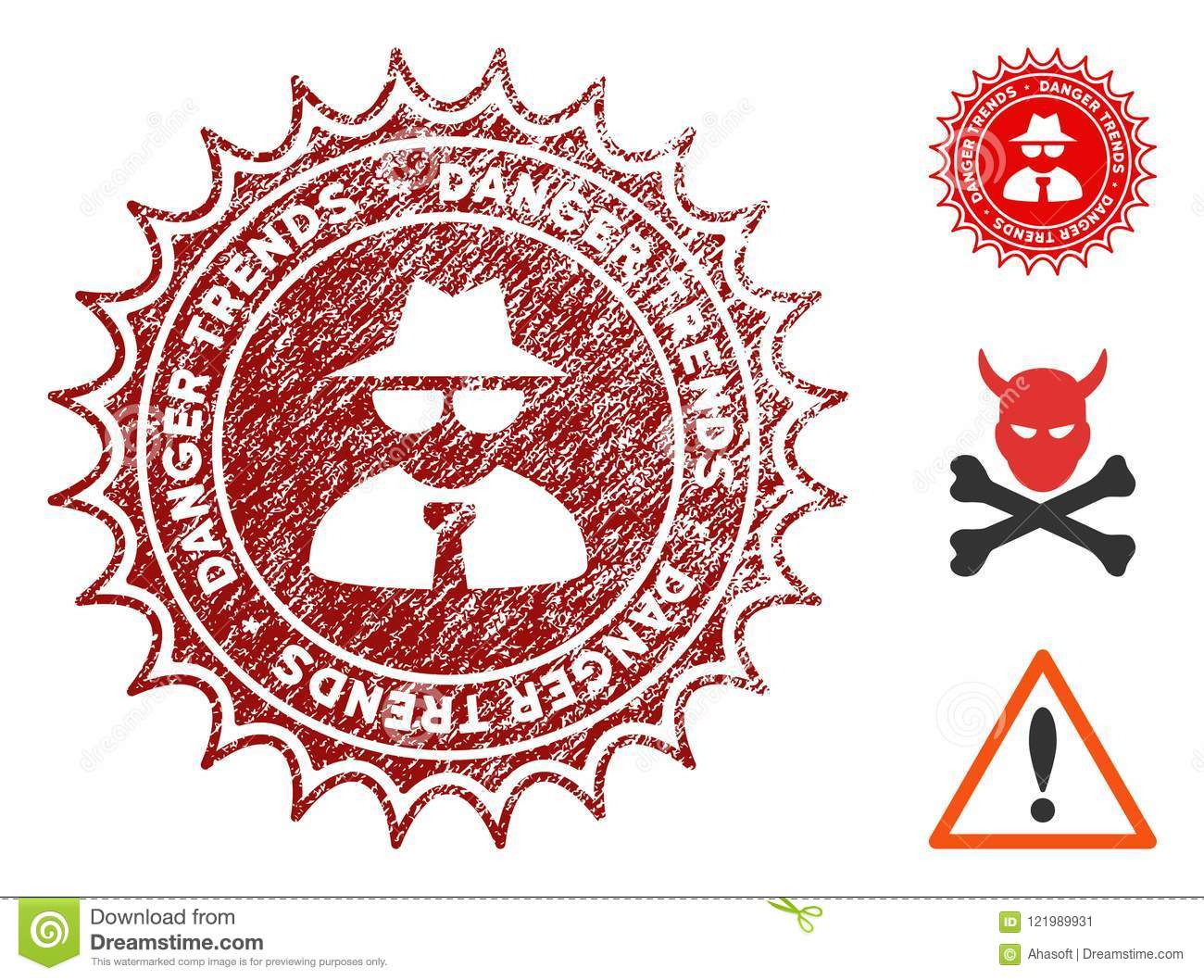 Mafia Danger Trends Watermark With Dirty Effect Stock Vector