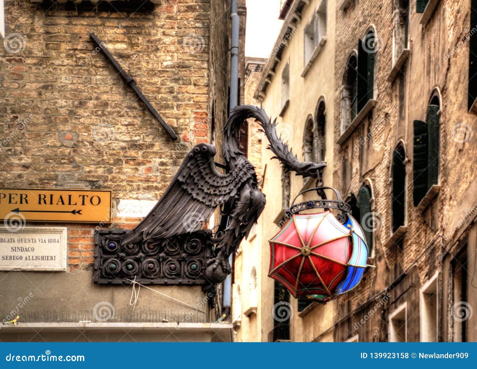 The Maforio Dragon lantern with umbrellas in Venice.