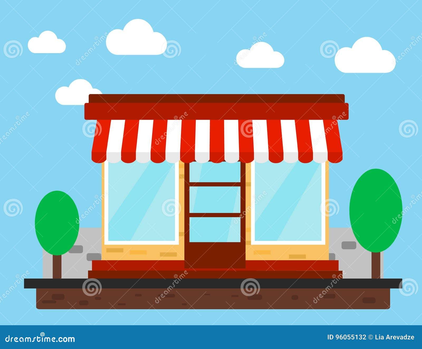 Magasin, boutique ou marché Front View Flat Design