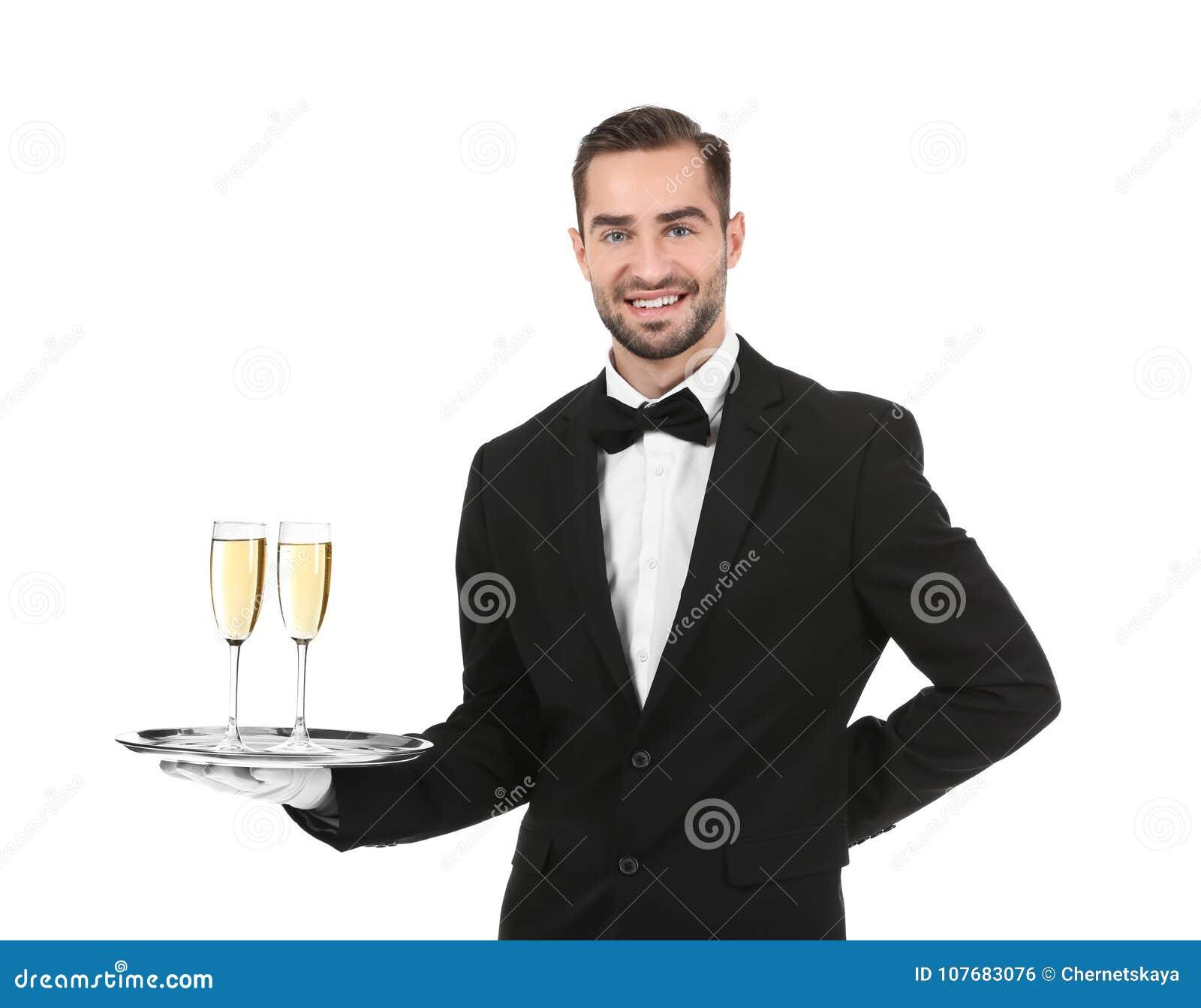 Magasin för uppassareinnehavmetall med exponeringsglas av champagne
