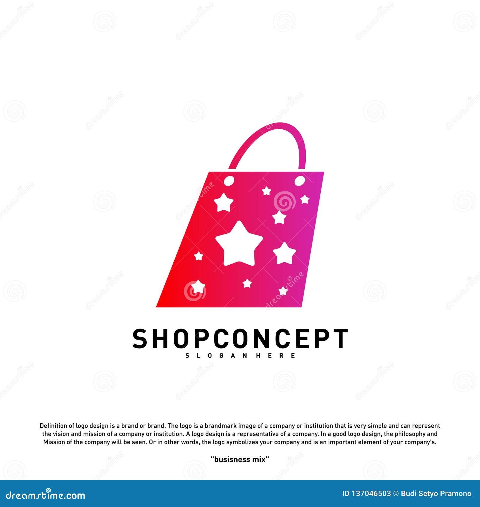 Magasin Logo Design Concept d étoile Centre commercial Logo Vector Symbole de magasin et de cadeaux