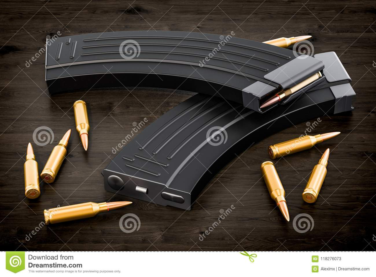 Magazine from assault rifle and bullets on the wooden table, 3D