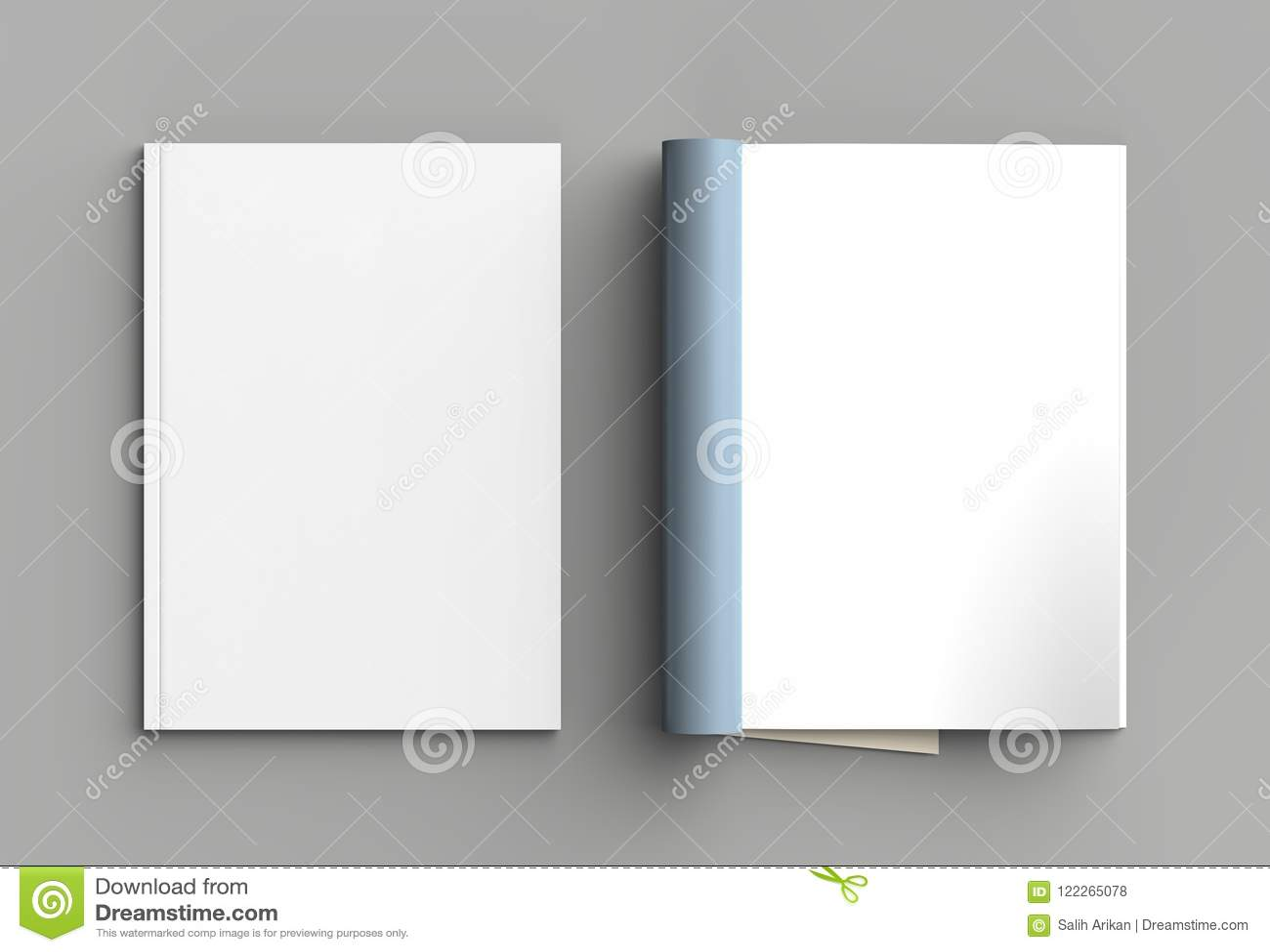 Magazine, brochure or catalog mock up isolated on gray background. 3d illustration