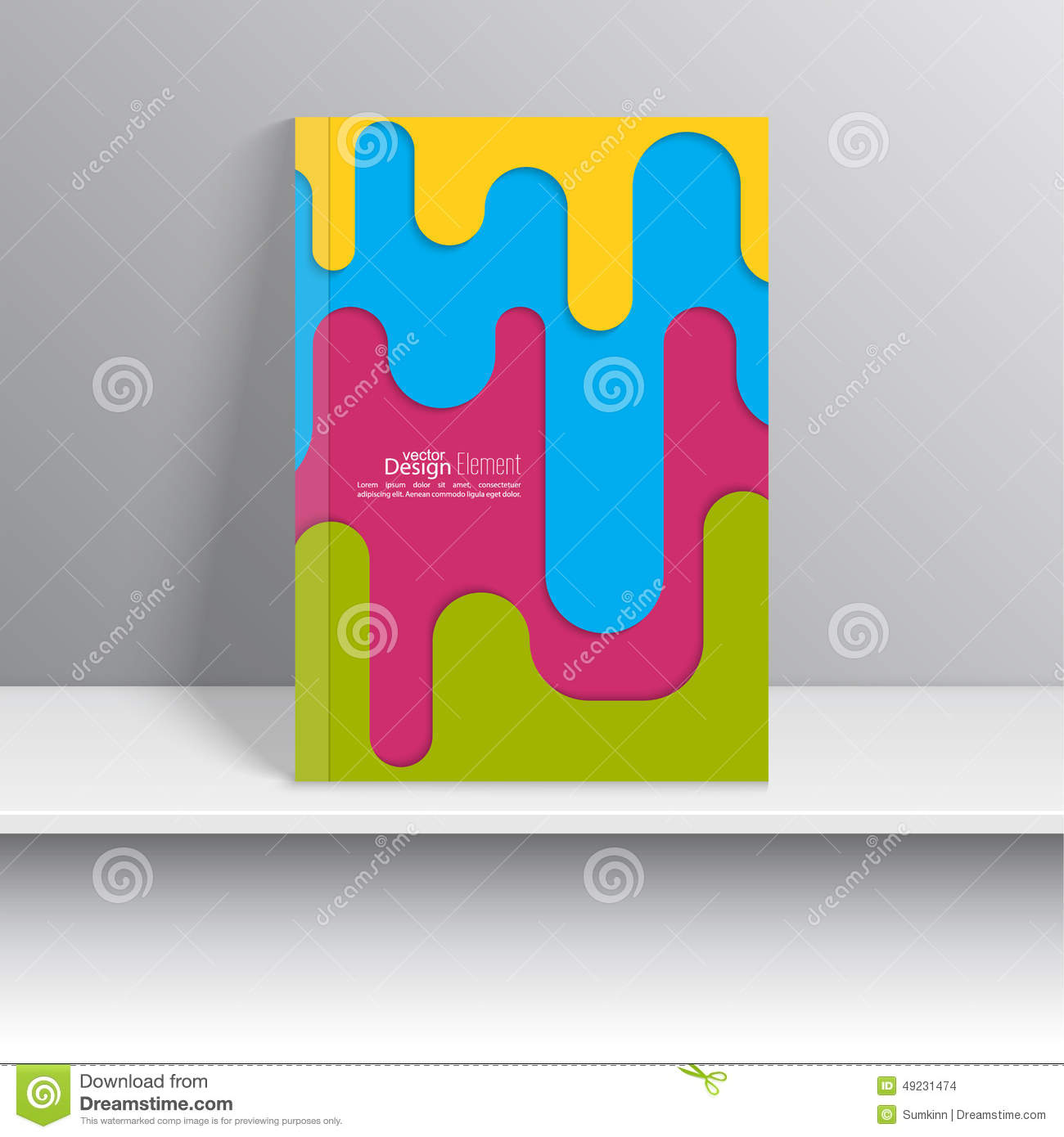 Magazine Cover With Colored Strips Of Paper Stock Vector