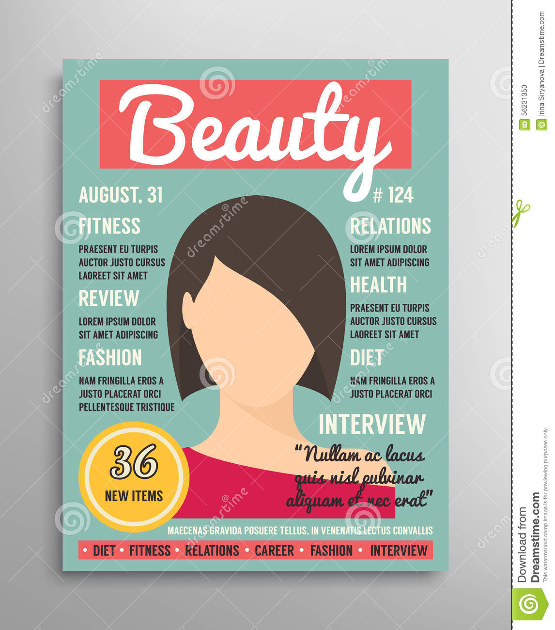 Magazine Cover Template About Beauty, Fashion And Health