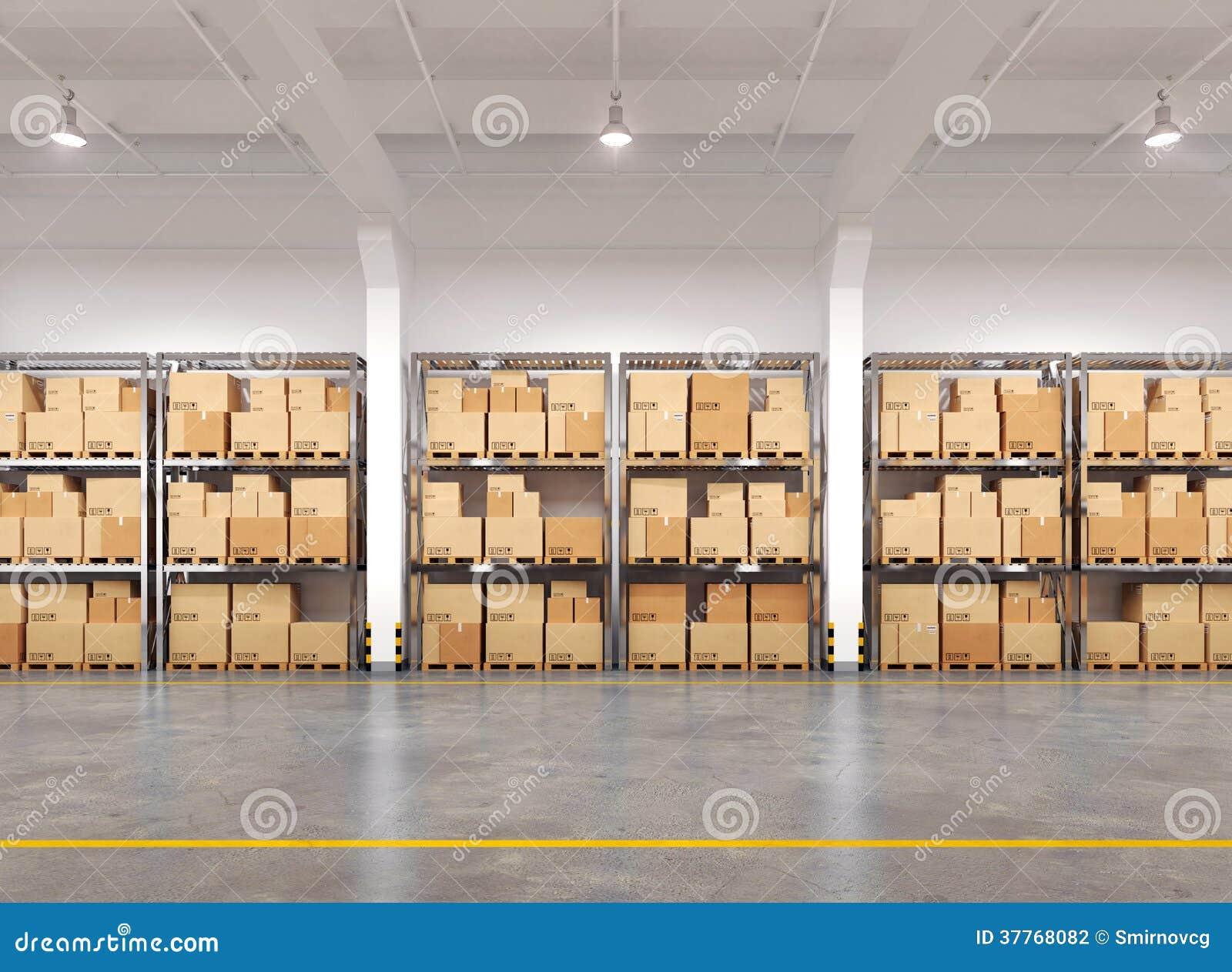 Magazzino con molti scaffali e scatole
