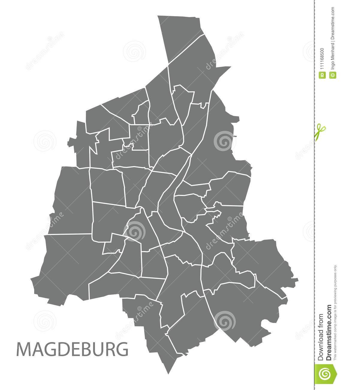Magdeburg City Map With Boroughs Grey Illustration Silhouette Sh