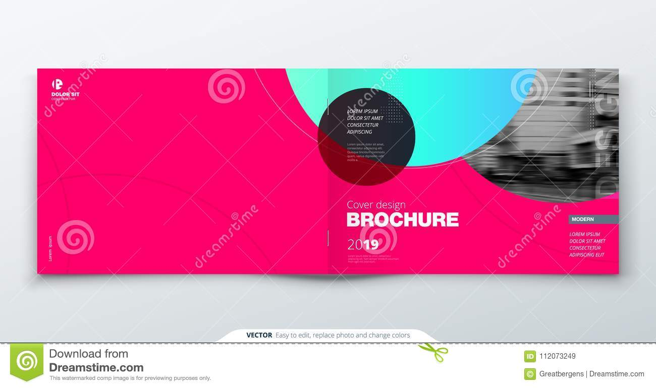 Magenta Brochure design. Horizontal cover template for brochure, report, catalog, magazine. Layout with gradient circle