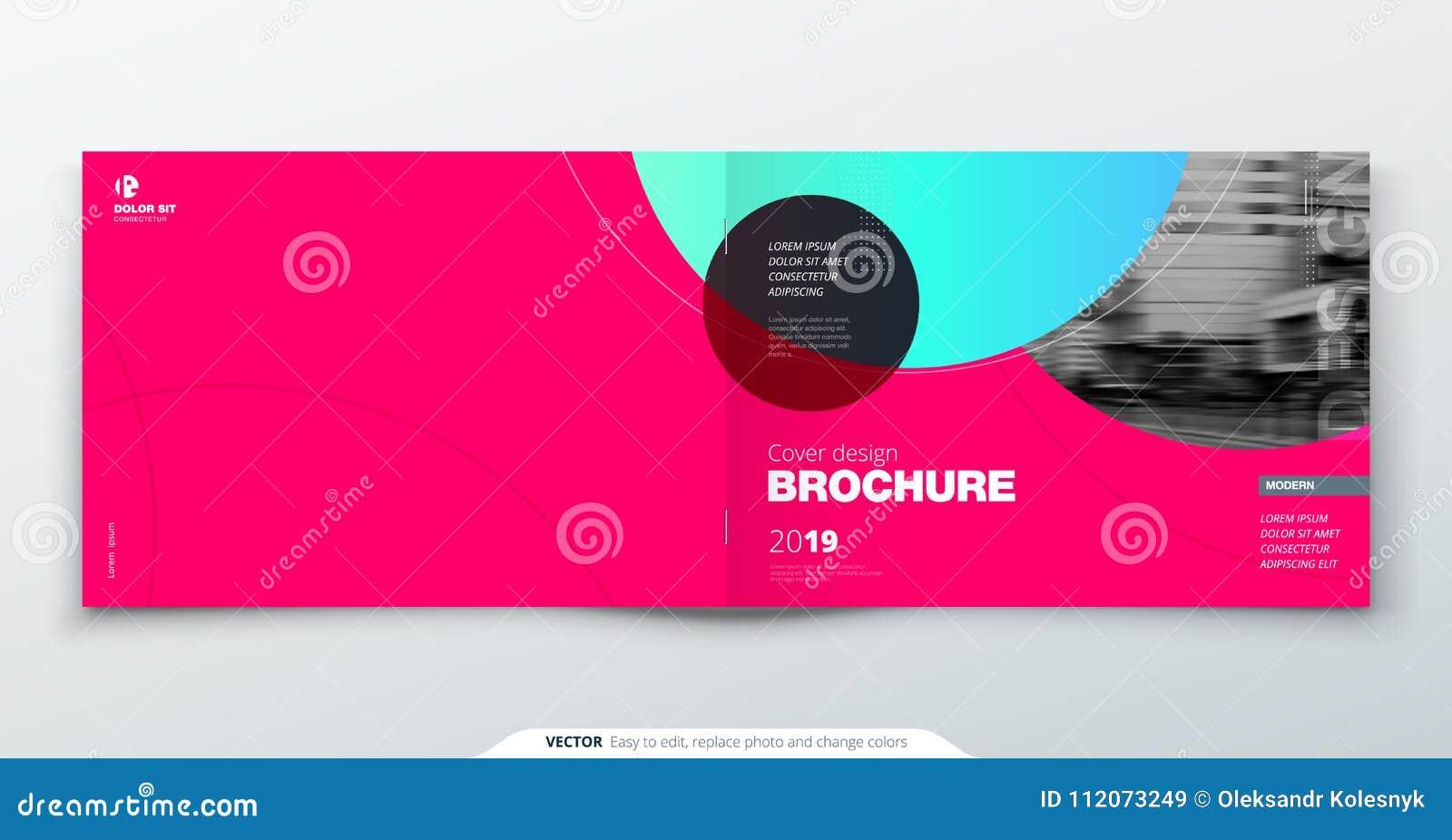Magenta broszurka projekt Horyzontalny okładkowy szablon dla broszurki, raport, katalog, magazyn Układ z gradientowym okręgiem