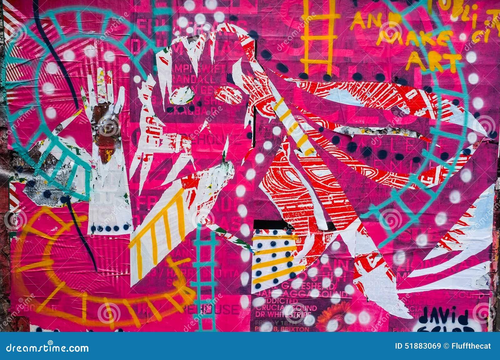 Magenta Coloured Graffiti Wall Art Stock Illustration
