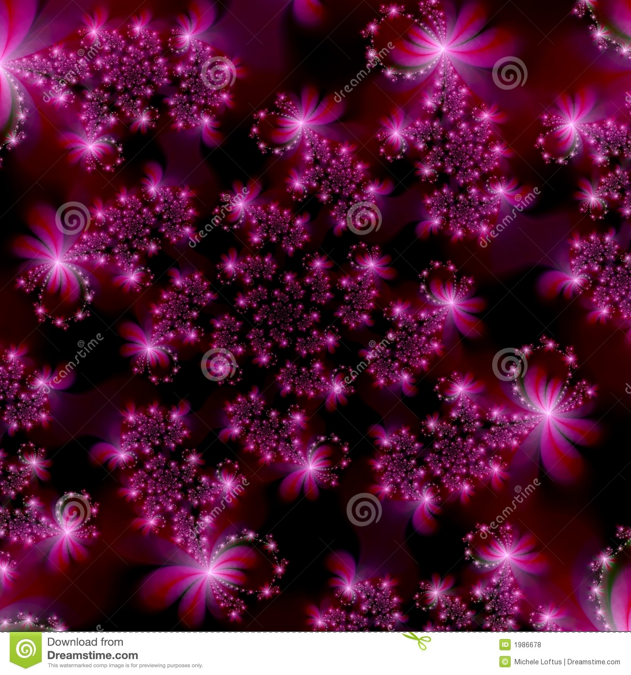 magenta pink fractal stars in space abstract background