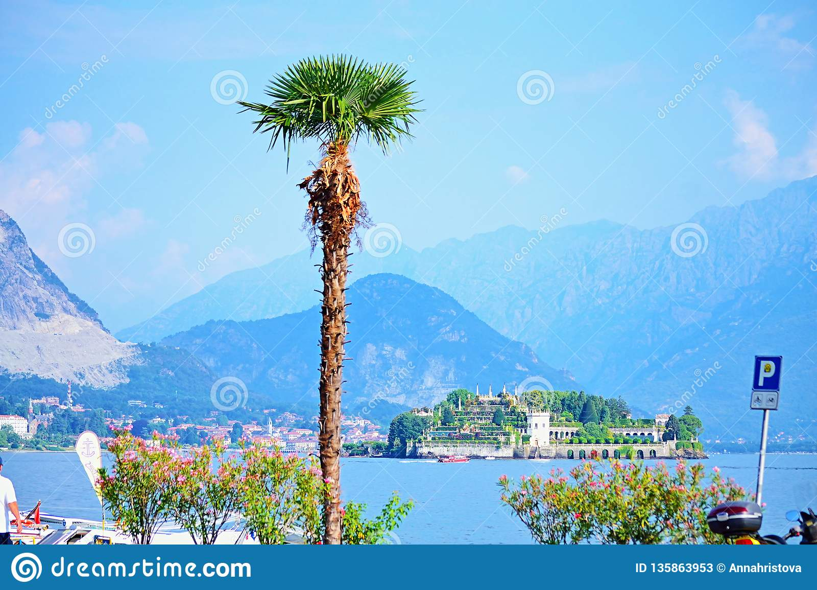 Maggiore lake scenic view Isola Bella,Alps Mountains Italy