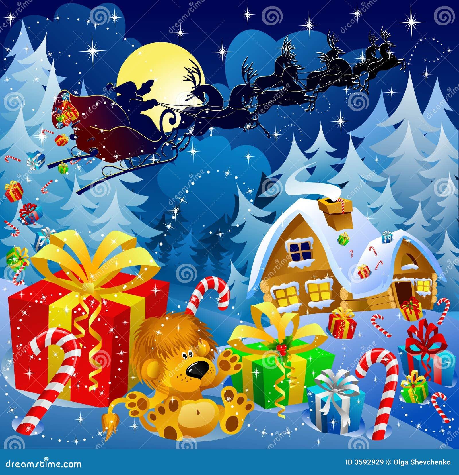 La Notte Di Natale.Magia Di Notte Di Natale Illustrazione Di Stock