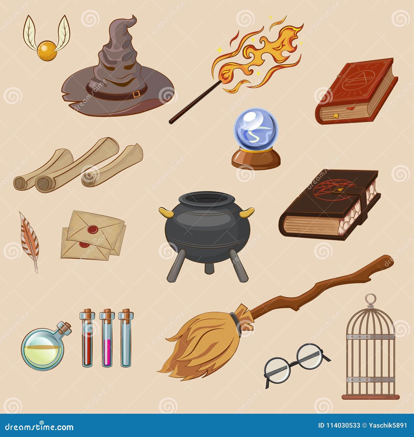 Magia set Rzecz magik: czarownik, kapelusz, magii książka, rolka, napój miłosny, miotła