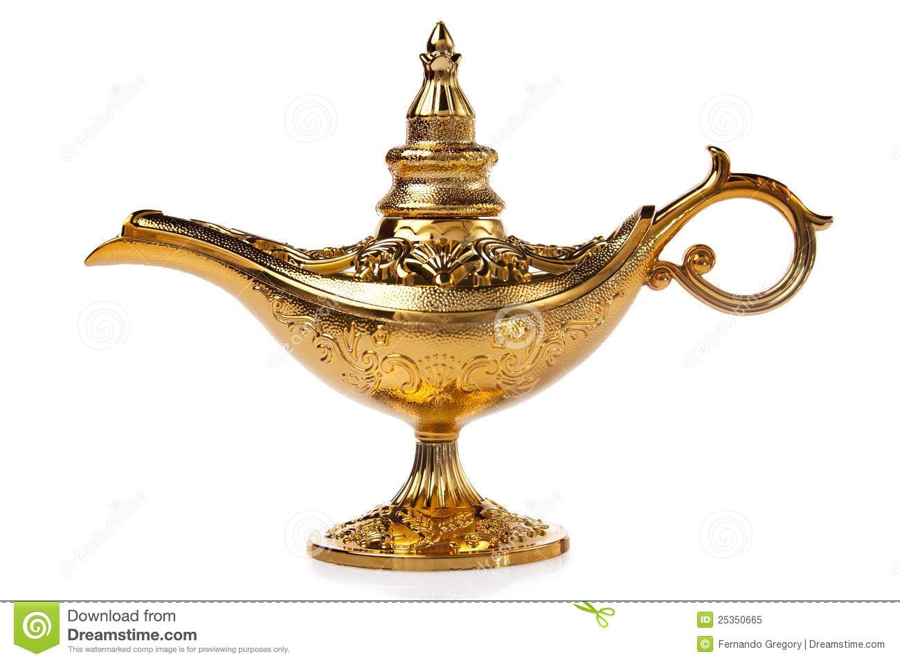 Magic Aladdin S Genie Lamp Isolated On White Royalty Free