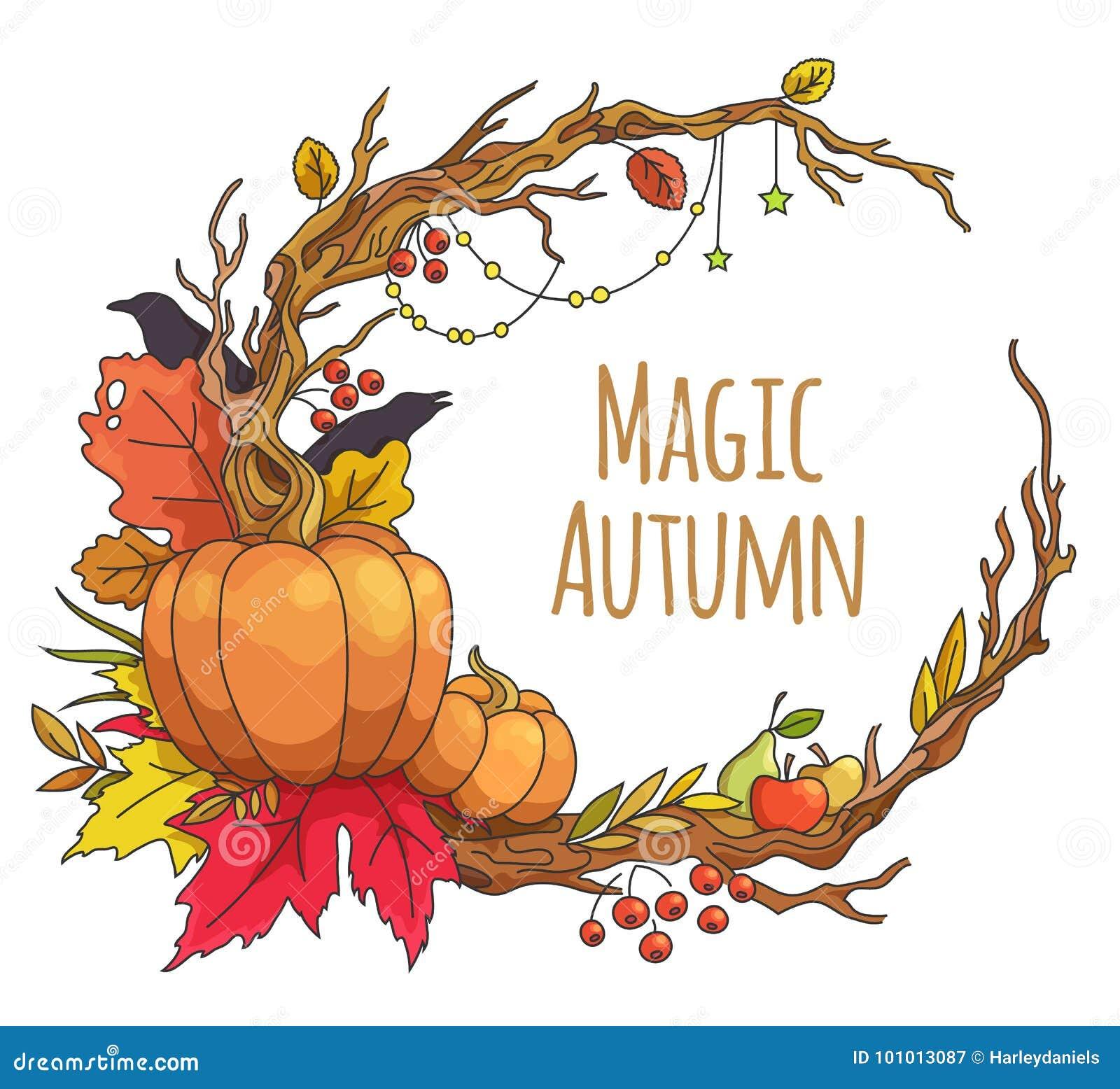 Magic autumn frame stock illustration. Illustration of cartoon ...