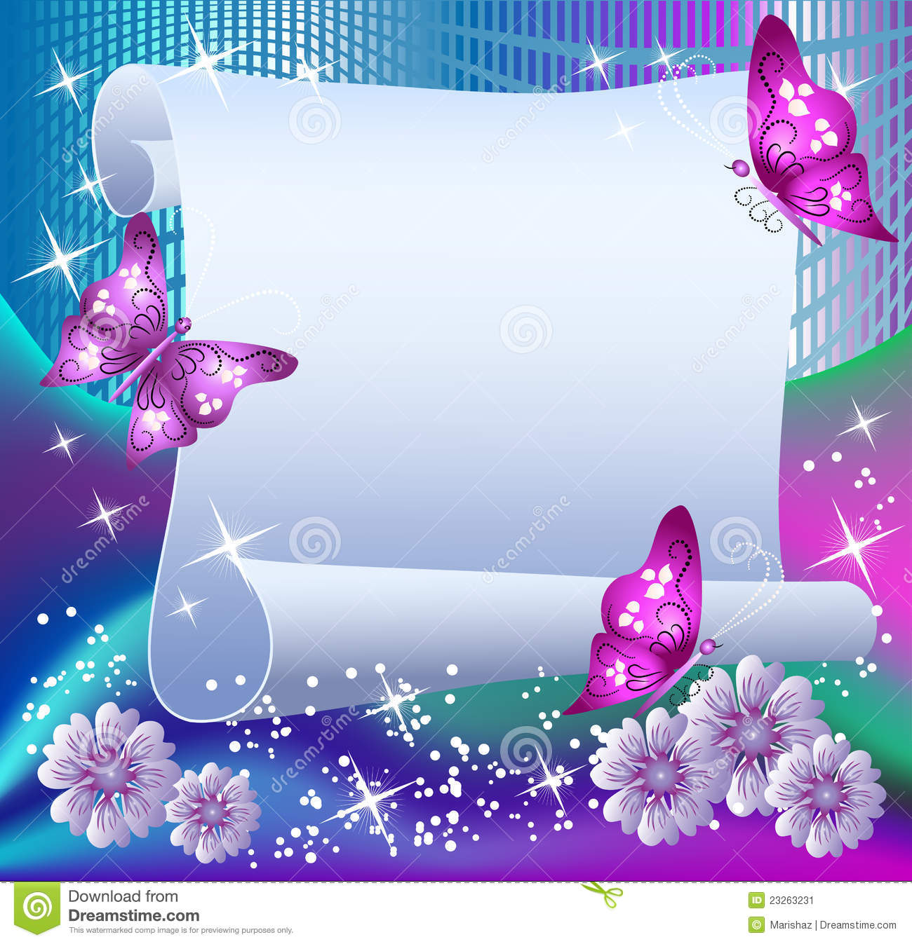 Magic background with paper, butterflies and a place for text.