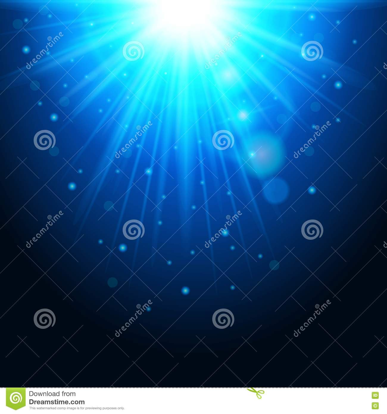 Magic background with rays of light, glowing effect. Blue lights sparkles on a transparent . Vector illustration