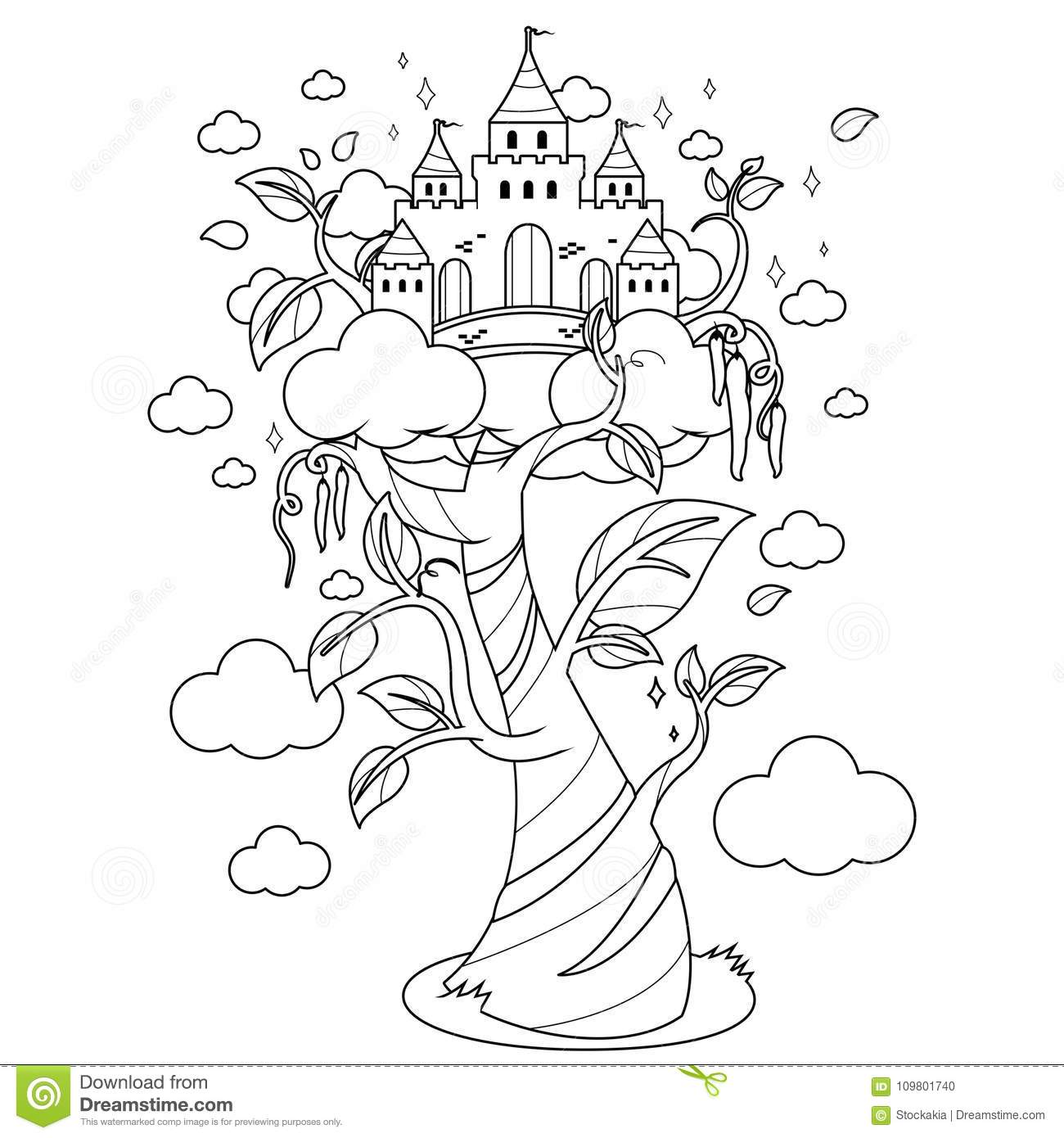 Magic Beanstalk And Castle Black And White Coloring Book Page Stock