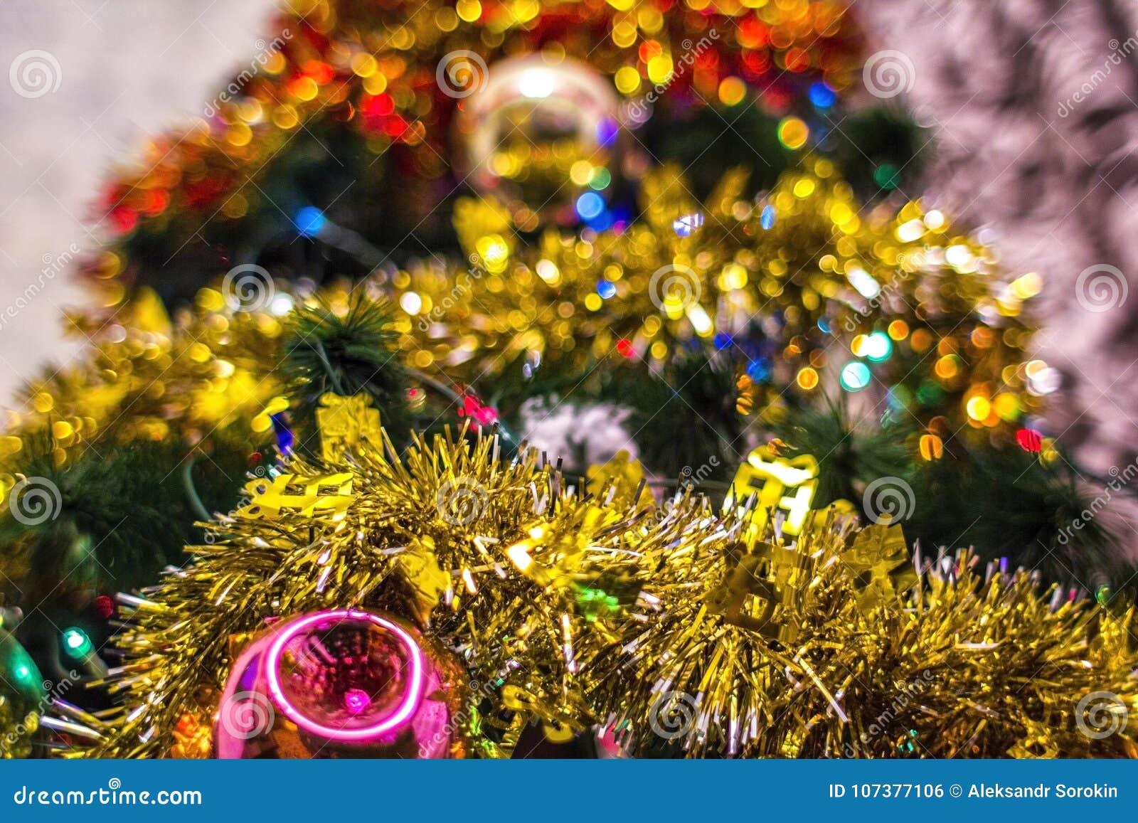 Magic Beautiful Christmas Tree With Old Fashioned, Retro Christmas ...