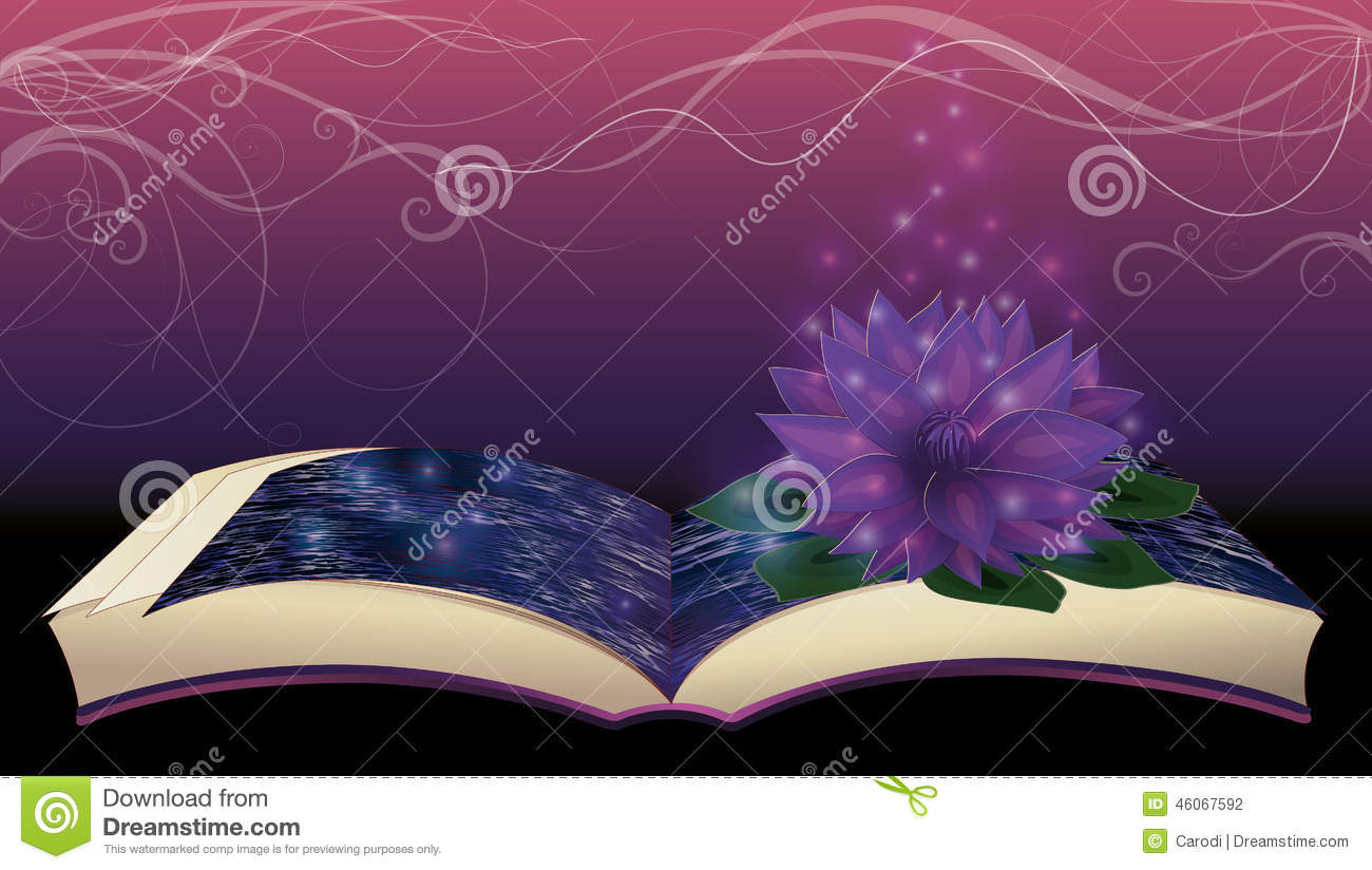 Magic Book With Lotus Flower Stock Vector Illustration Of Mystery