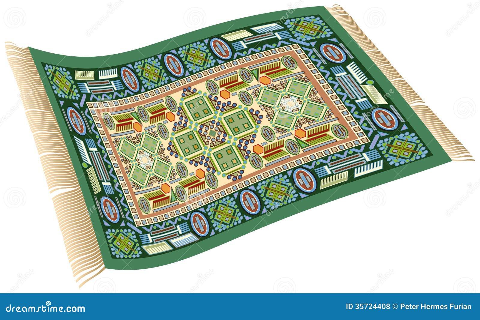 Magic Carpet Green Stock Vector Image Of Motif Legend
