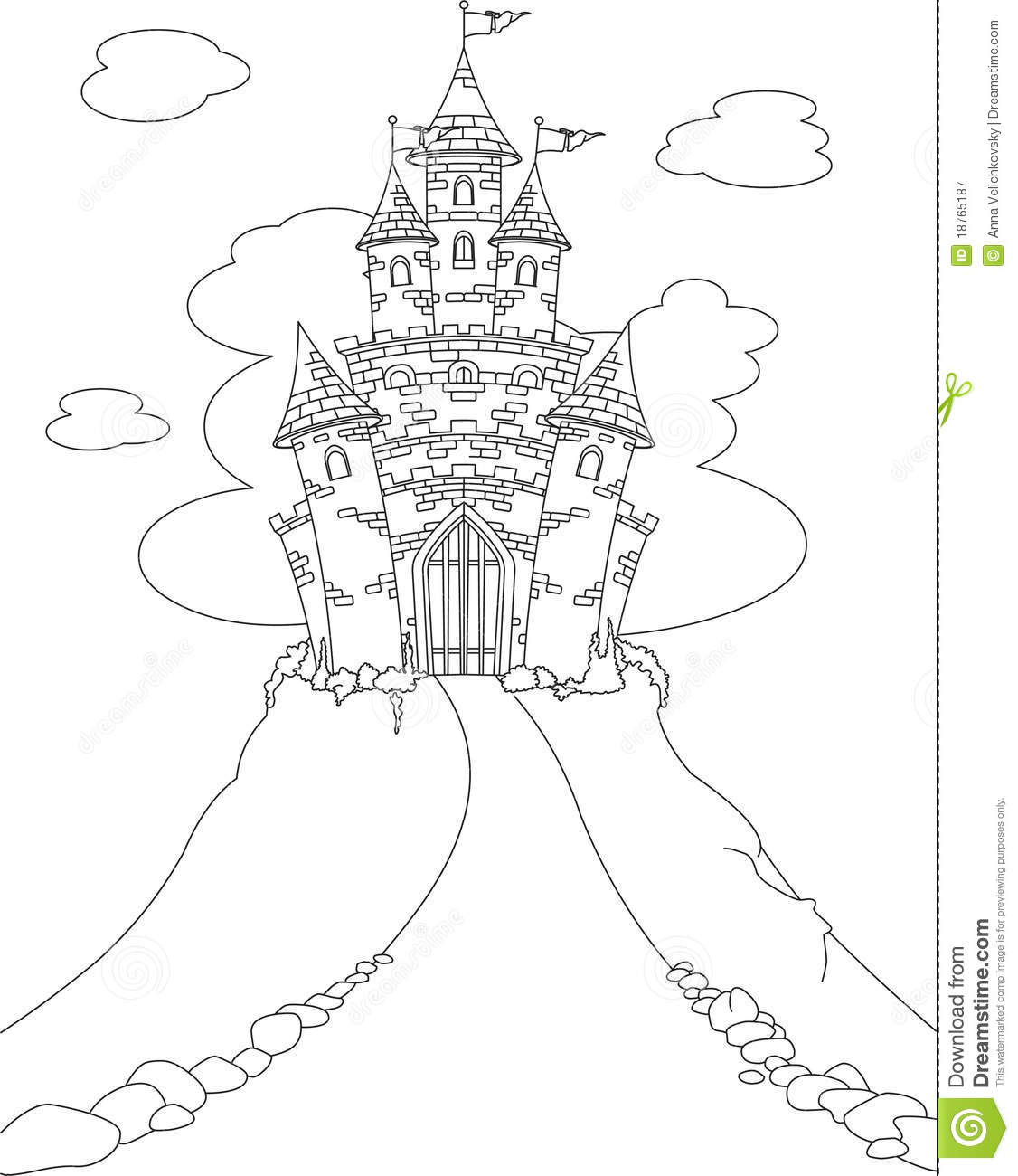 Magic Castle Coloring Page Stock Vector Illustration Of Black