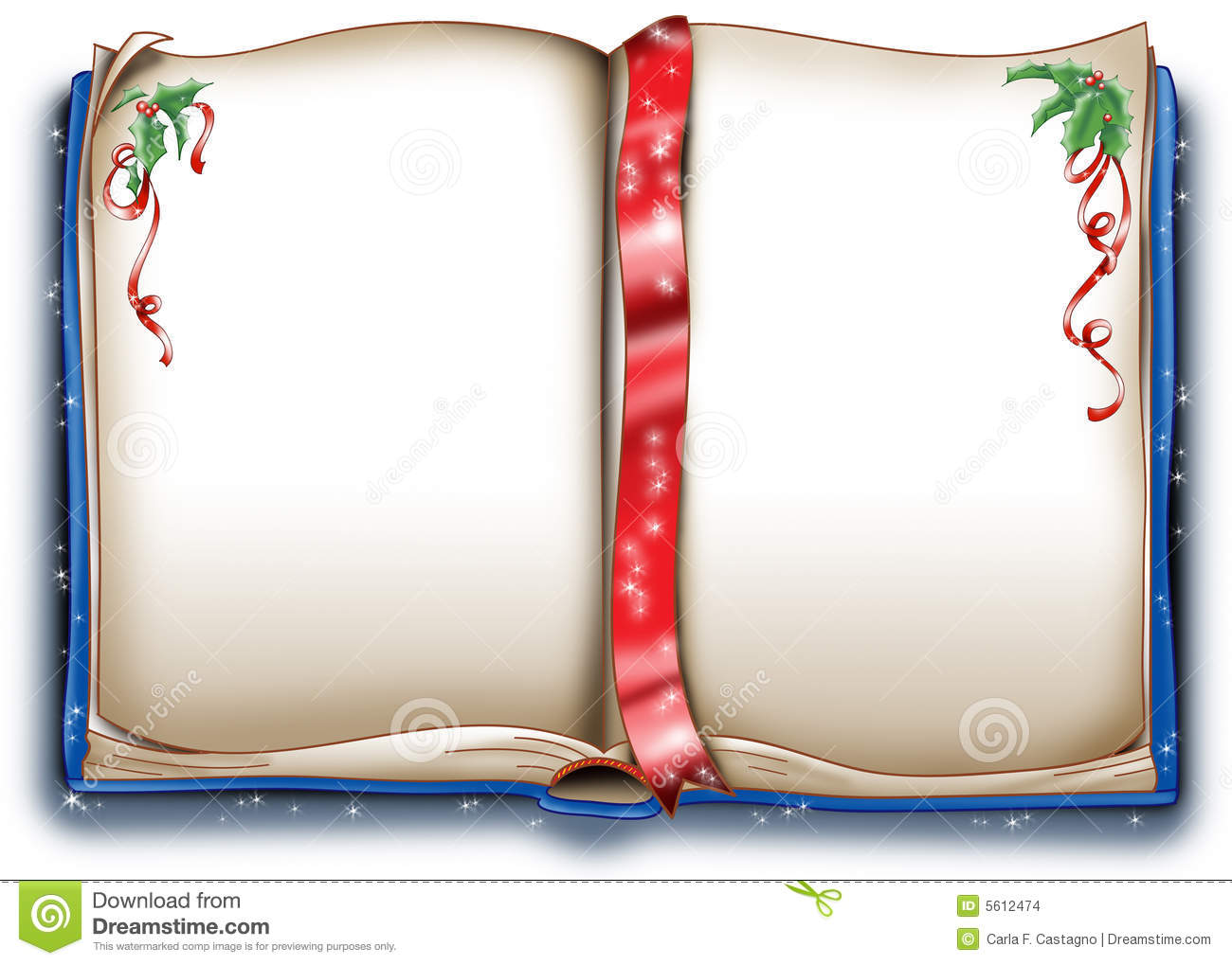 An empty old magic book decorated with christmas holly