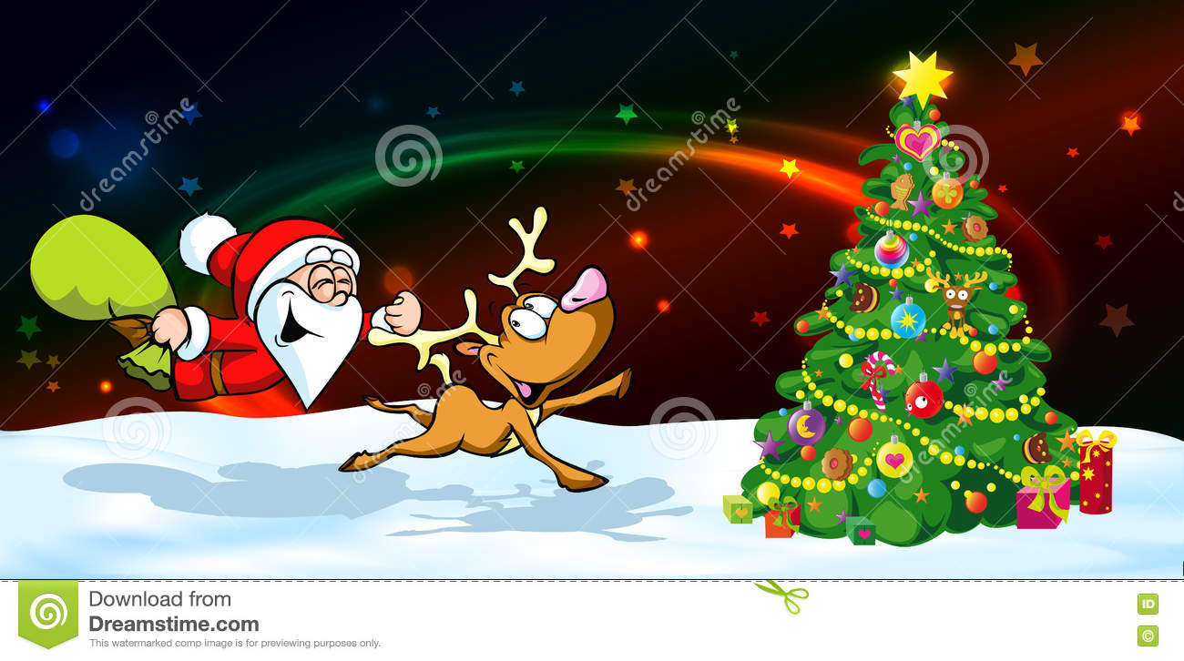 Magic Christmas Eve Banner - Funny Vector Illustration Of Santa With ...